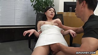 A well done HR clerk interviews a man intermittently gives him influential access to her pussy