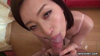 Japanese housewife, Ami Kikukawa sucks dick, un