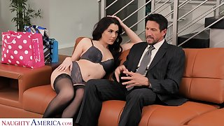 Luscious young wifey Valentina Nappi seduces age-old husband