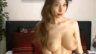 Busty milf sucks and fucks dildo heavens webcam and loves it