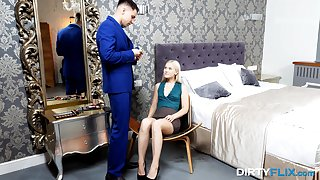 Insolent blonde strips for cock in exclusive bedroom romance