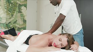 Interracial sex during massage with anal loving cutie Sexy Suzy