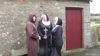 Dirty mature nuns Trisha and Claire Knight try kinky threesome