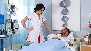 Lucky patient enjoys space fully weirdo nurse Valentina Nappi rides his cock