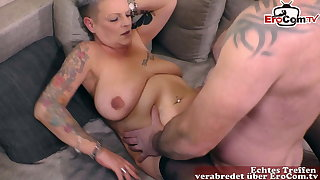 short haired German ugly mammy with tattoo fucks housewife