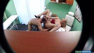 New nurse takes sample cumshot