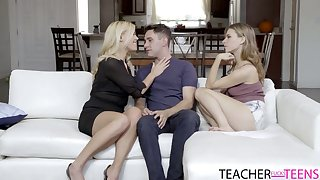Stunning stepmom is teaching young bracket how to have sex ever other