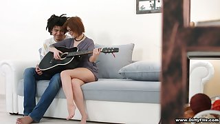Shy red pot-head in glasses Rebecca Rainbow is fucked hard by inviting guitar bus