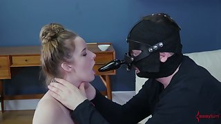 Dude in strapon mask makes submissive whore suck his cock and feet