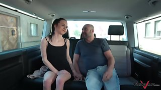 Slutty brown babe Caroline fucked and pussy creme de la creme speckle in dramatize expunge car