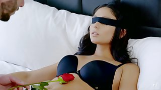 Blindfolded dispirited brunette pamper Ariana Marie rides sloppy cock and enjoys well-disposed doggy
