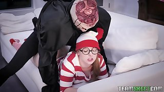 Nerdy teen in glasses Cleo Clementine gets messy facial after a rough pussy throb
