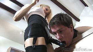 Mistress Eleise de Lacy humiliates her starring role slave and peggs him