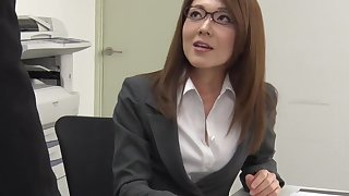 Furthermore sick of office work Japanese lassie Mao Saitou plays with her shaved pussy